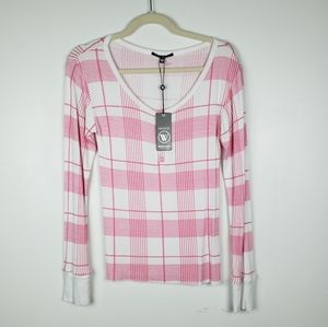 Wildfox Intimates Pink Flannel Top